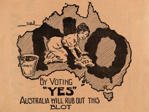 Image of Australia with woman scrubbing out a large 'No'