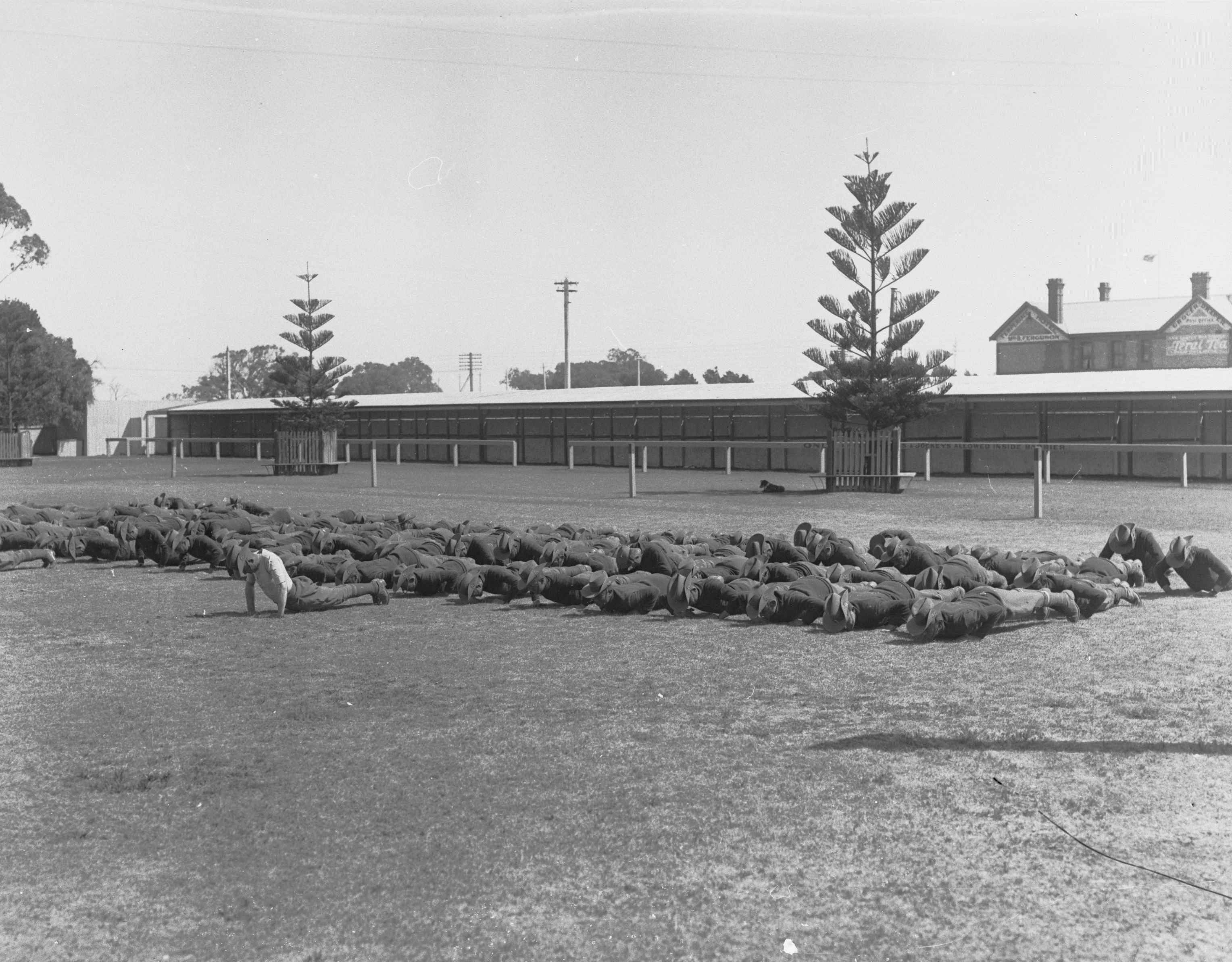 Image: group of men in uniforms doing push-ups on oval